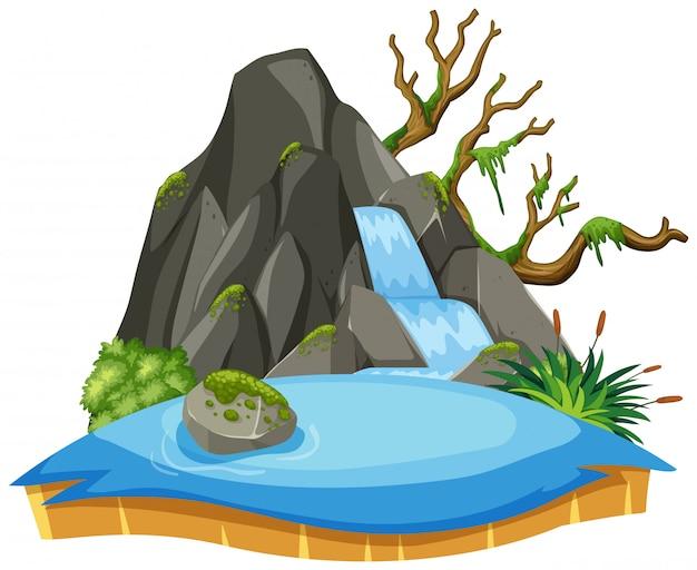 Geïsoleerd watervallandschap op wit