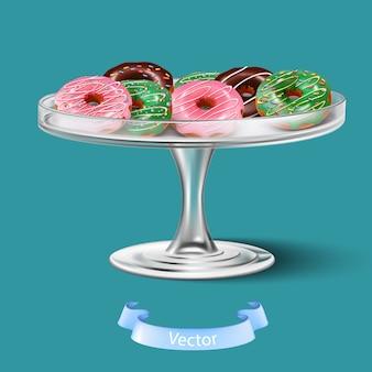 Geïsoleerde 3d realistische donuts met glazuurglas op het cakeblad.
