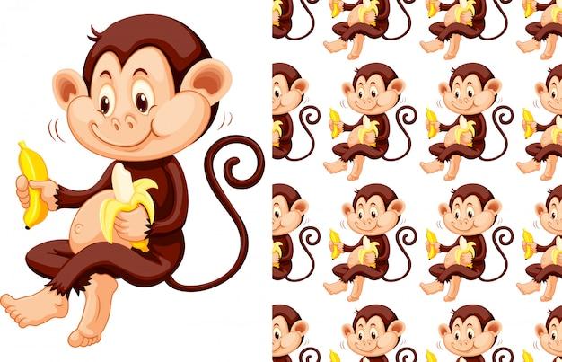 Geïsoleerde aap met banaan patroon cartoon