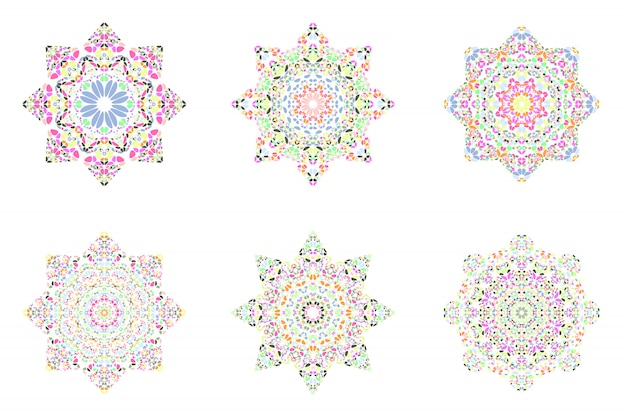 Geïsoleerde abstract floral mozaïek ster symbool sjabloon set