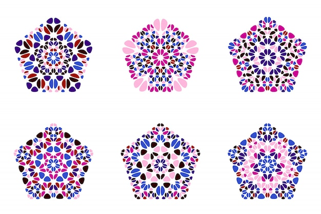 Geïsoleerde abstracte kleurrijke het pentagonsymboolreeks van het bloemornament