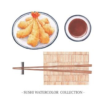 Geïsoleerde aquarel sushi collectie