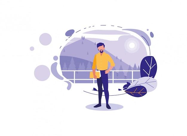 Geïsoleerde avatar man met landschap en bladeren