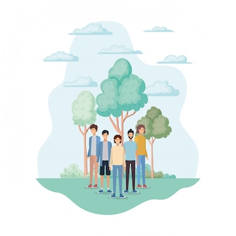 Geïsoleerde avatars van mannen in het park