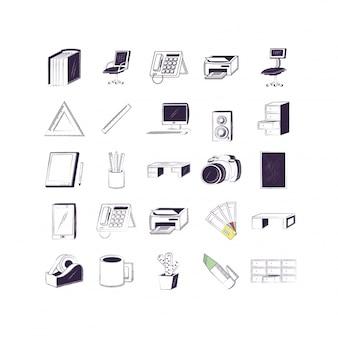 Geïsoleerde bedrijfs- en kantoor icon set