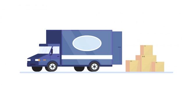 Geïsoleerde bestelwagen met kartondozen