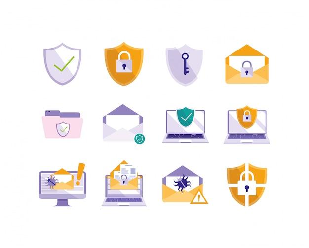 Geïsoleerde beveiligingssysteem icon set