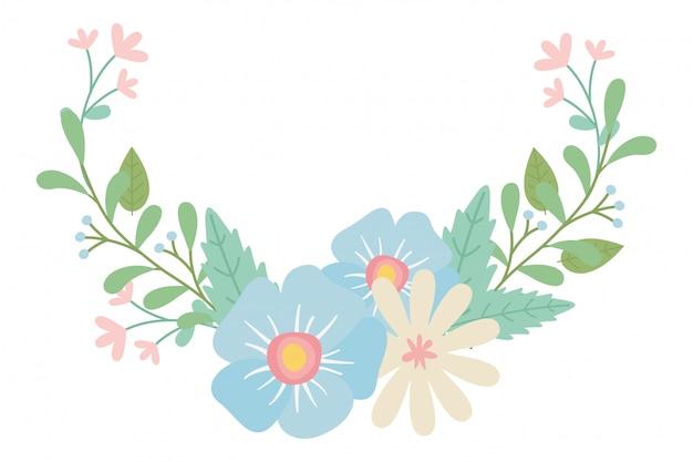 Geïsoleerde bloemen krans