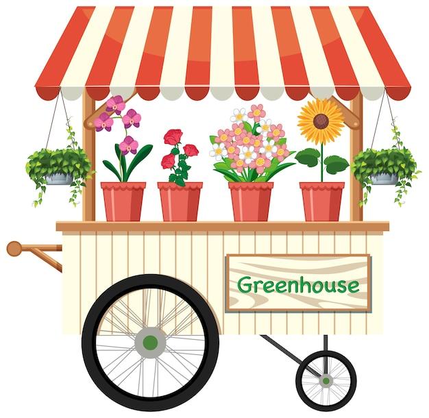 Geïsoleerde bloemenverkoper winkelwagen