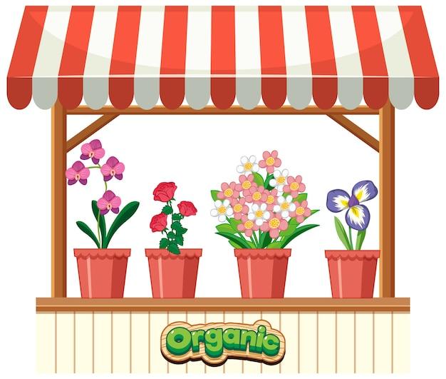 Geïsoleerde bloemenwinkel op wit