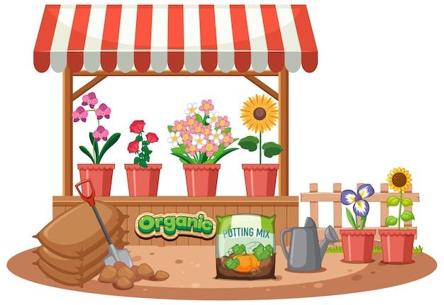 Geïsoleerde bloemenwinkel op witte achtergrond