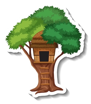 Geïsoleerde boomhut met houten ladder
