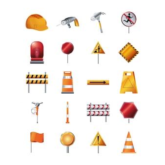 Geïsoleerde bouw icon set
