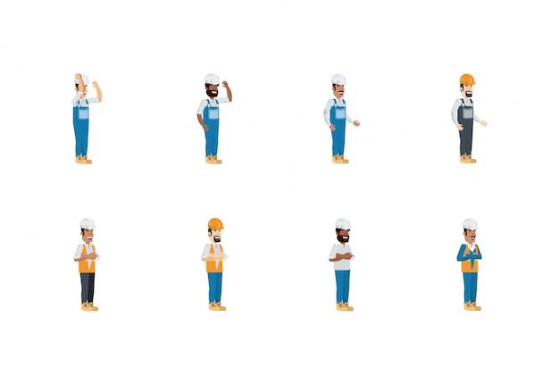 Geïsoleerde bouwer mannen met gele en witte helm set