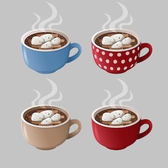 Geïsoleerde cacao kopjes. kleurrijke kopjes met warme chocolademelk en marshmallows.