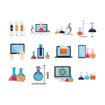 Geïsoleerde chemie icon set
