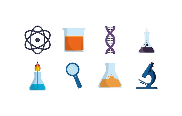 Geïsoleerde chemie icon set