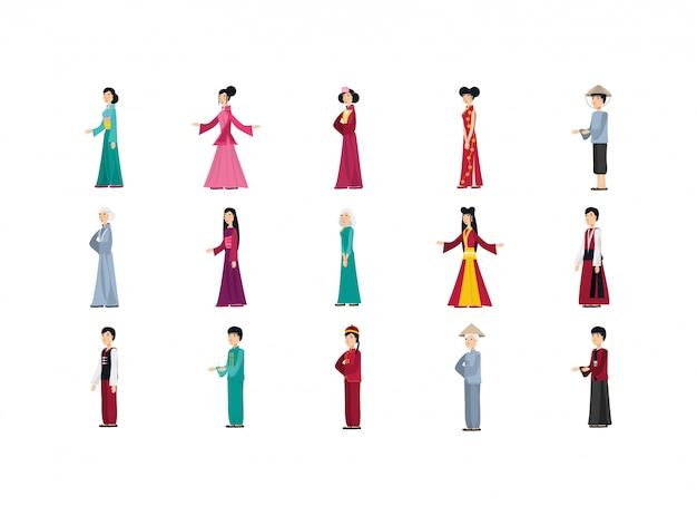 Geïsoleerde chinese mensen met traditionele doekreeks
