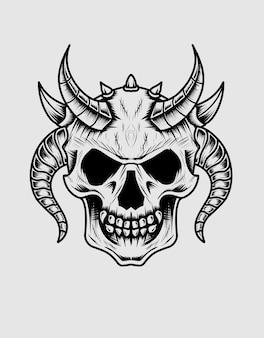 Geïsoleerde demon schedel hoofd