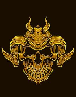 Geïsoleerde demon schedel illustratie