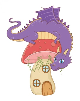Geïsoleerde draak cartoon ontwerp vectorillustratie