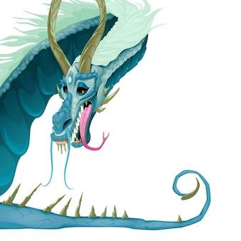 Geïsoleerde draak met open mond en staart vector cartoon illustratie
