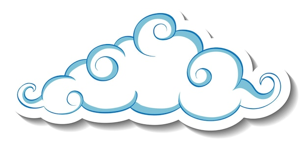 Geïsoleerde eenvoudige wolk sticker sjabloon