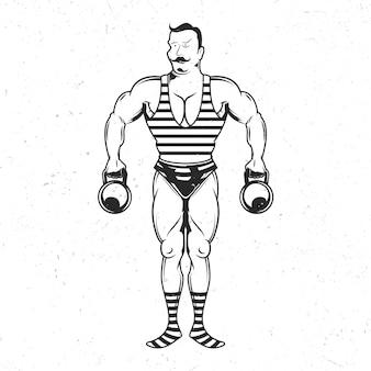 Geïsoleerde embleem met illustratie van vintage sportman