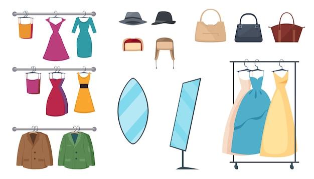 Geïsoleerde en gekleurde kleding winkel pictogrammenset met elementen en attributen kleding op hangers en accessoires