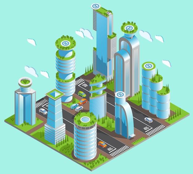 Geïsoleerde en isometrische futuristische wolkenkrabberscompositie met veel kantoorgebouwen in het centrum