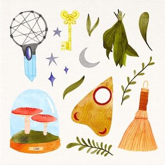 Geïsoleerde esoterische elementen en planten