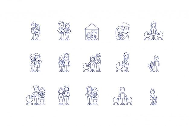 Geïsoleerde familie cartoons pictogram decorontwerp