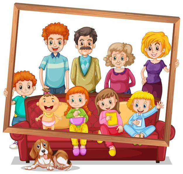 Geïsoleerde familiefoto met fotolijst
