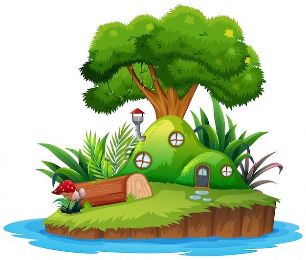 Geïsoleerde fantasie eiland huis