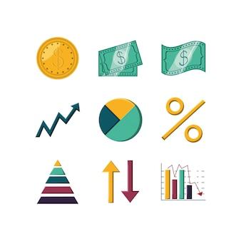 Geïsoleerde geld en infographic icon set