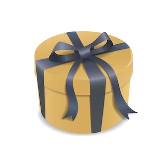 Geïsoleerde gele geschenkdoos met blauwe linten.
