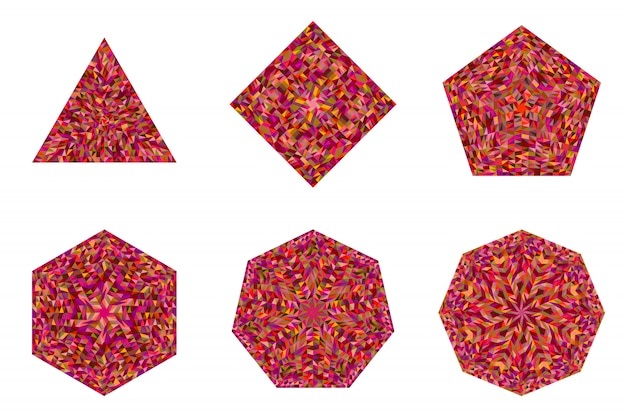 Geïsoleerde geometrische abstracte mozaïek veelhoek sjabloon set