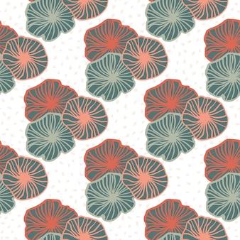 Geïsoleerde geometrische overzicht bloemen naadloze patroon. roze en blauwe pastel voorgevormde elementen op een witte achtergrond.