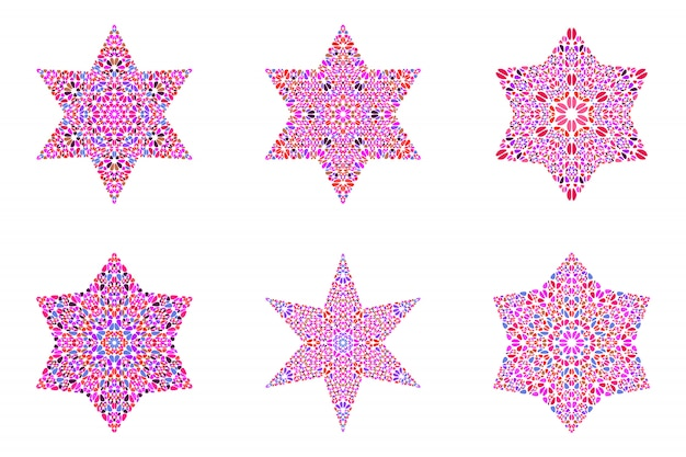 Geïsoleerde geometrische stenen ornament ster sjabloon set