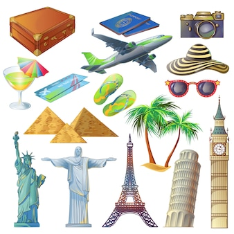 Geïsoleerde gezichtssymbolen van standbeelden torens en cartoon stijl reizigers accessoires set