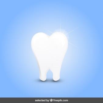 Geïsoleerde glanzende tand
