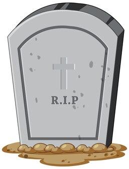 Geïsoleerde grafsteen op witte achtergrond