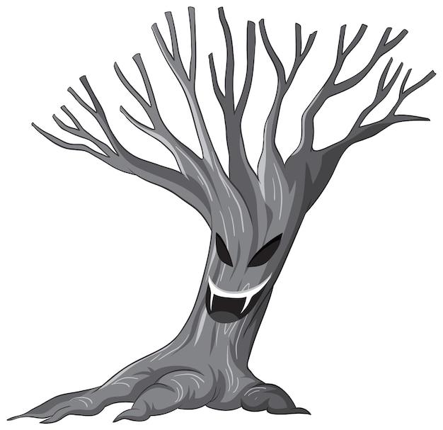 Geïsoleerde griezelige spookboom