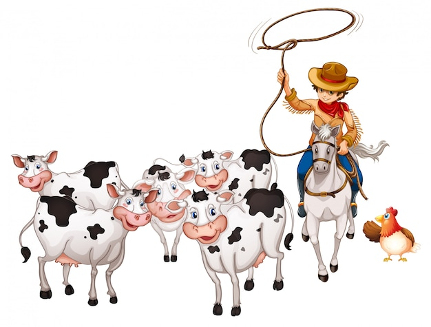 Geïsoleerde groep huisdieren met cowboy