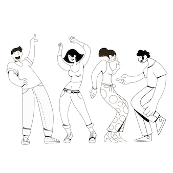 Geïsoleerde groep jonge gelukkige dansende mensen of mannelijke en vrouwelijke dansers
