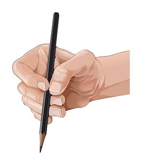 Geïsoleerde hand die een potloodillustratie houdt