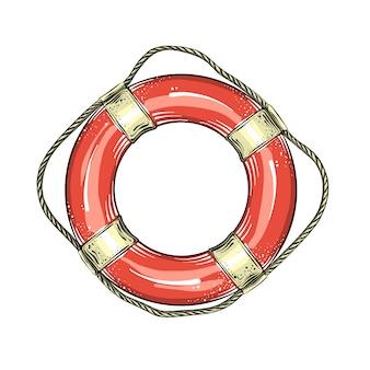 Geïsoleerde hand getrokken schets van reddingsboeiring in rode en witte kleur.