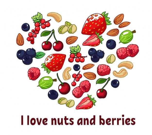 Geïsoleerde hart silhouet gemaakt van bessen en noten.