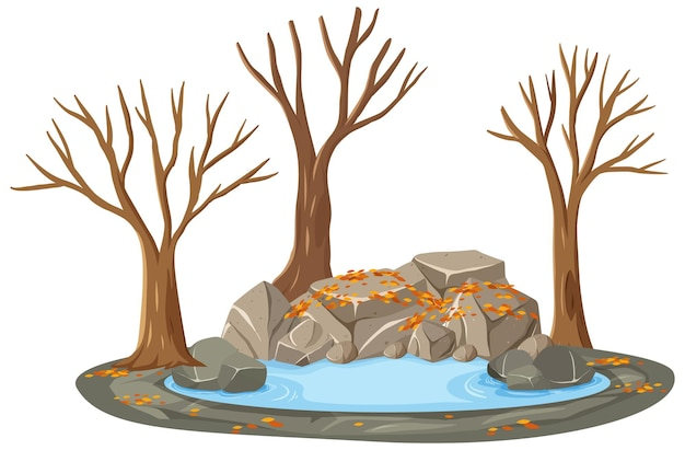 Geïsoleerde herfstbomen bij de vijver