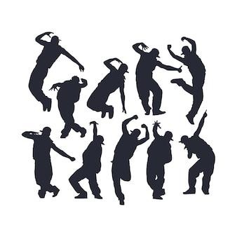 Geïsoleerde hip hop dans silhouet vector set